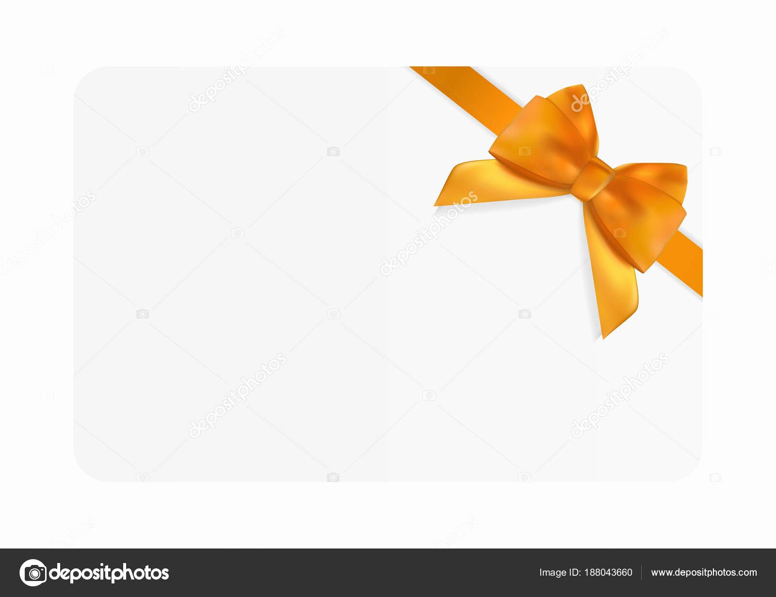 Blank Gift Card Template with orange Bow and Ribbon