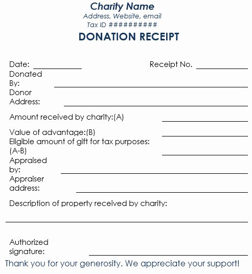 Blank In Kind Donation form Template Templates Resume