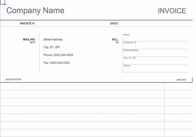 Blank Invoice Paper