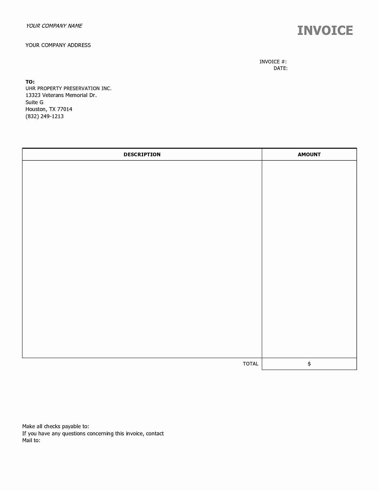 Blank Invoices to Print Mughals