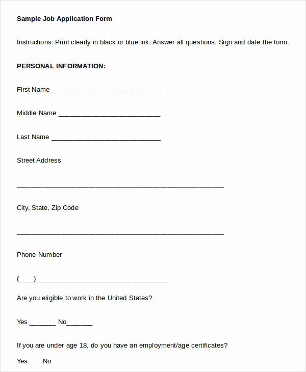 Blank Job Application 8 Free Word Pdf Documents