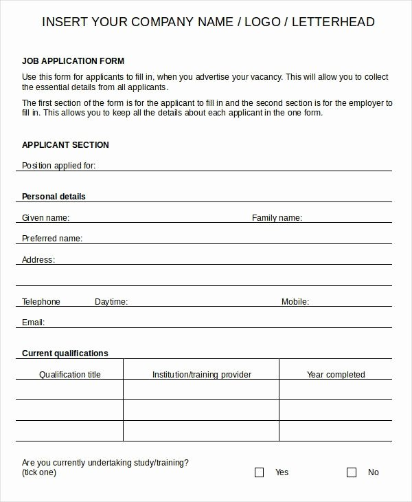 Blank Job Application Template Invitation Template