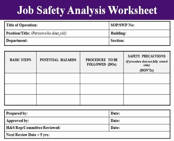 Blank Job Safety Analysis Excel Template