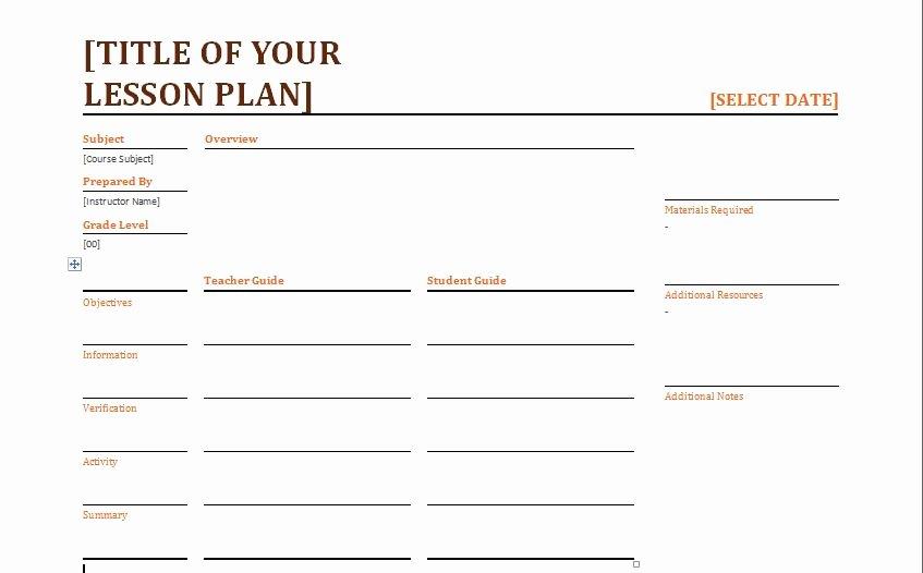 blank lesson plan format