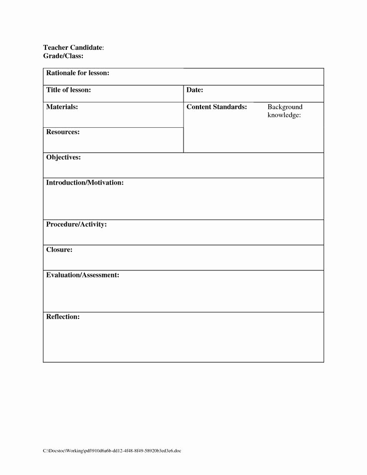 Blank Lesson Plan Template Beautiful Template Design Ideas
