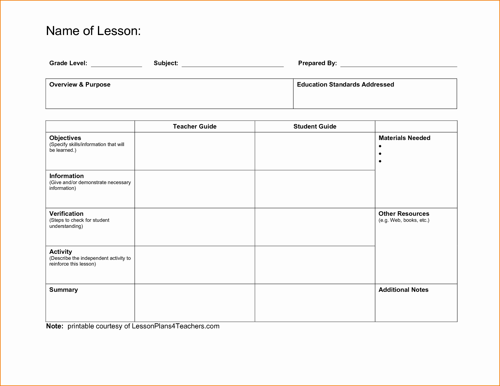Blank Lesson Plan Template for First Grade Mon Core
