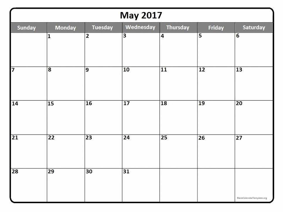 Blank May 2017 Calendar