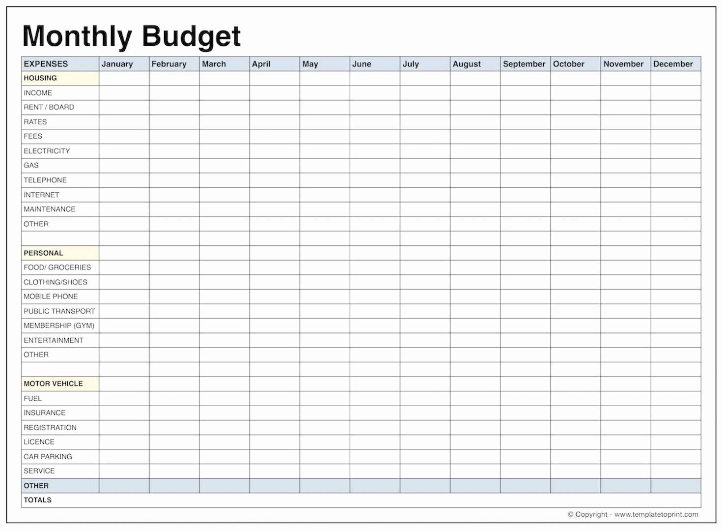 Blank Monthly Bud Template Pdf Samplebusinessresume