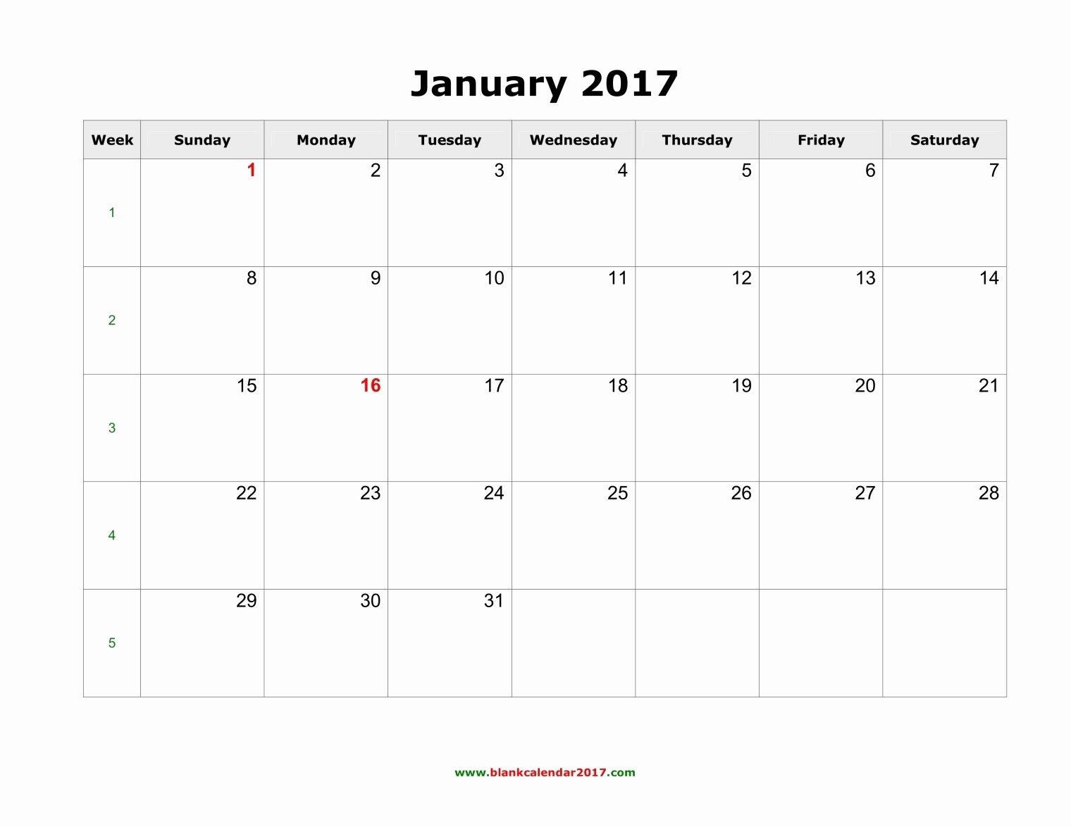 Blank Monthly Calendar 2017