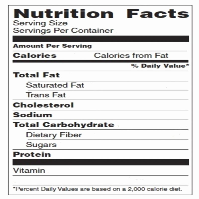 Blank Nutrition Label Template Word