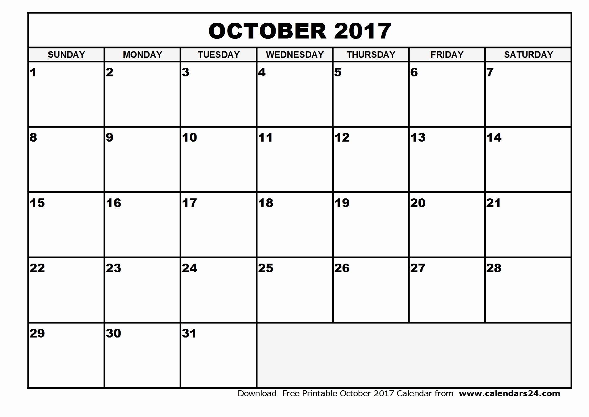 Blank October 2017 Calendar