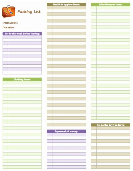 Blank Packing Checklist
