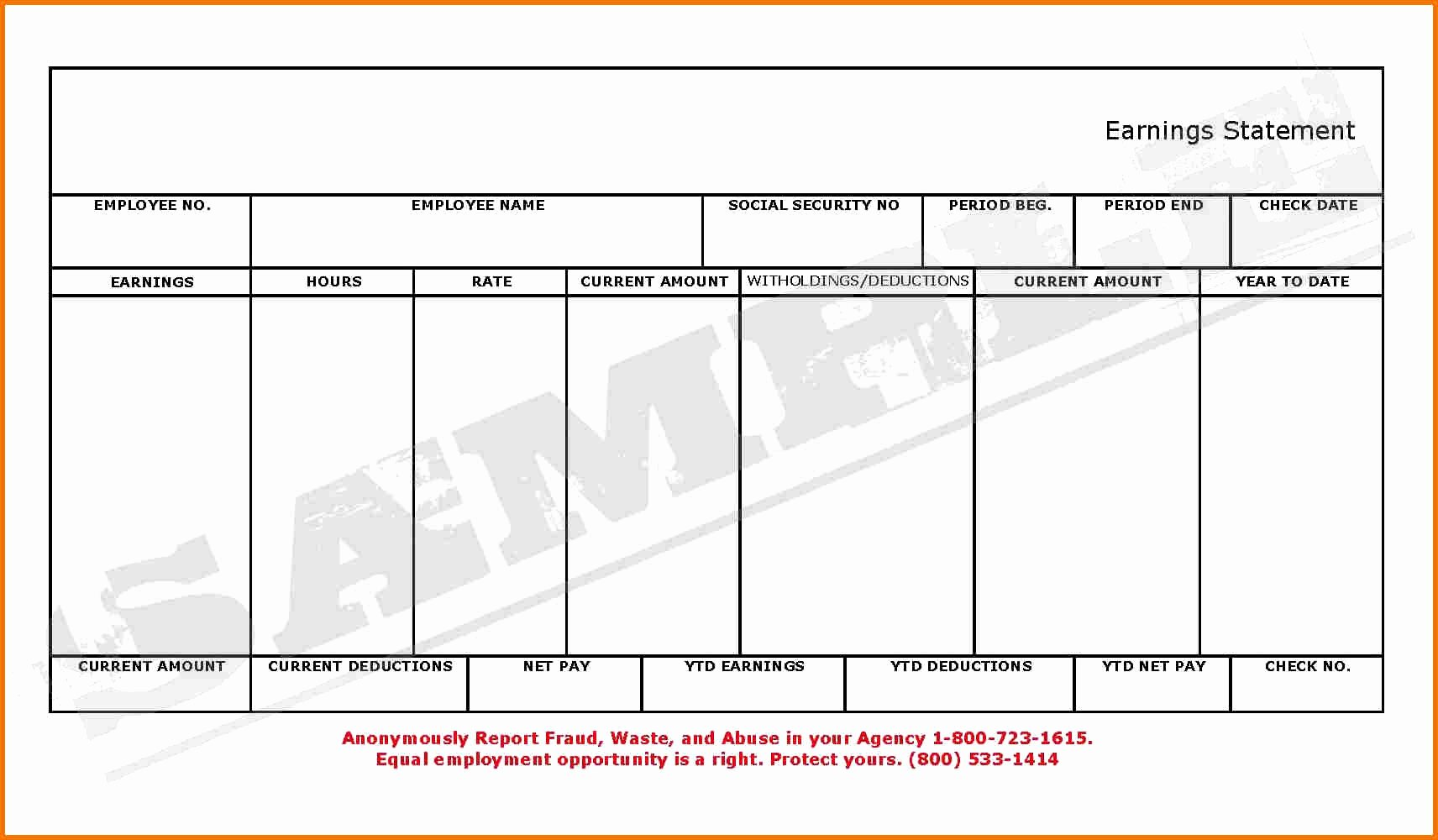 Blank Pay Stubs Template Example Mughals