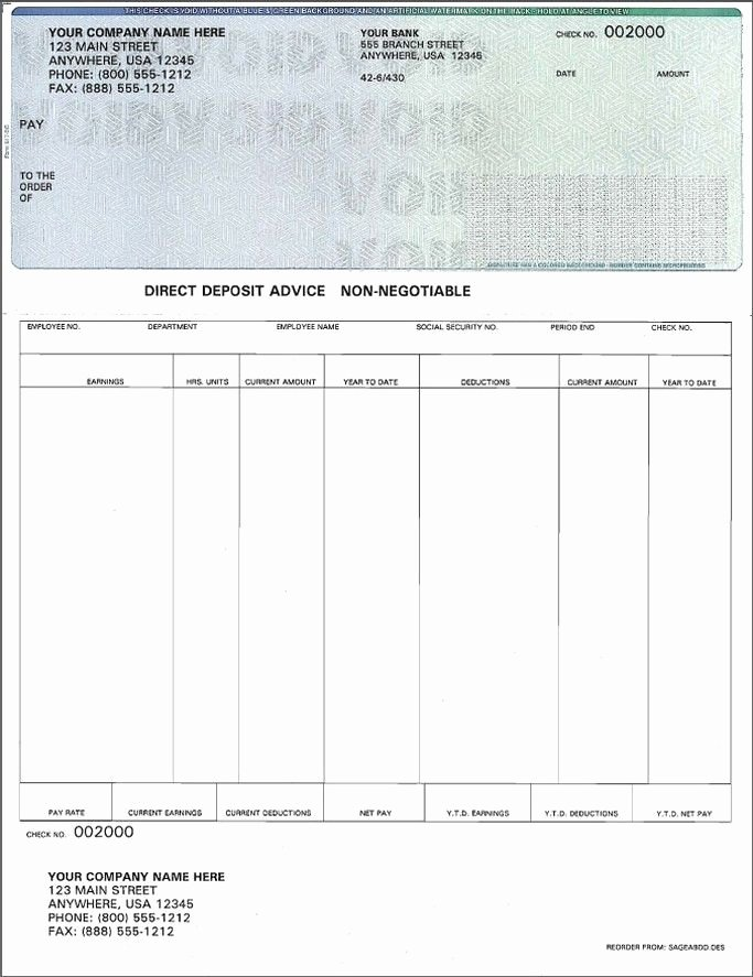 Blank Payroll Check Template Invitation Template