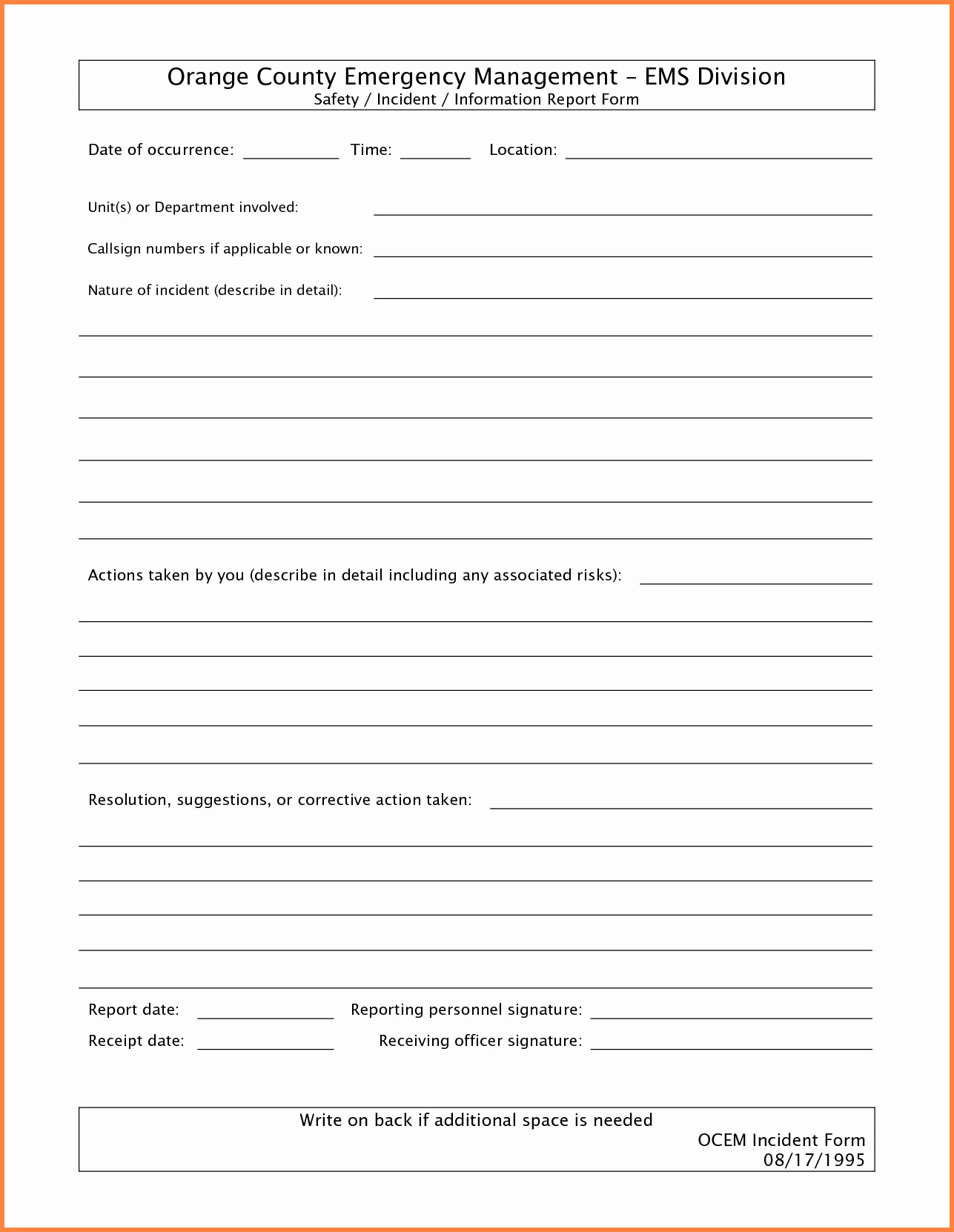 Blank Police Report Template Templates Station