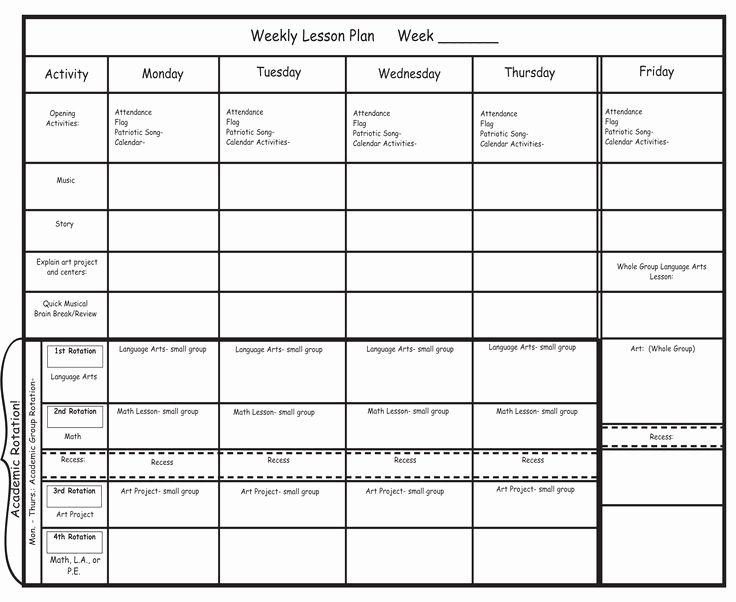 Blank Preschool Lesson Plan Template Pdfkindergarten