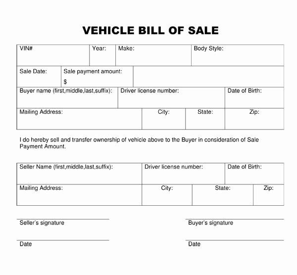 Blank Printable Bill Of Sale Template