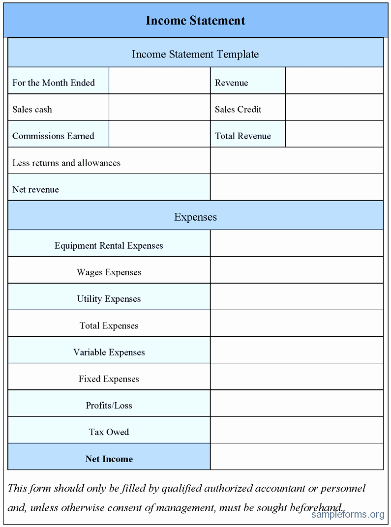 Blank Profit and Loss Statement Example Mughals