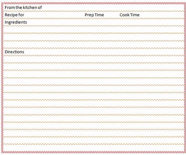 Blank Recipe Card Template