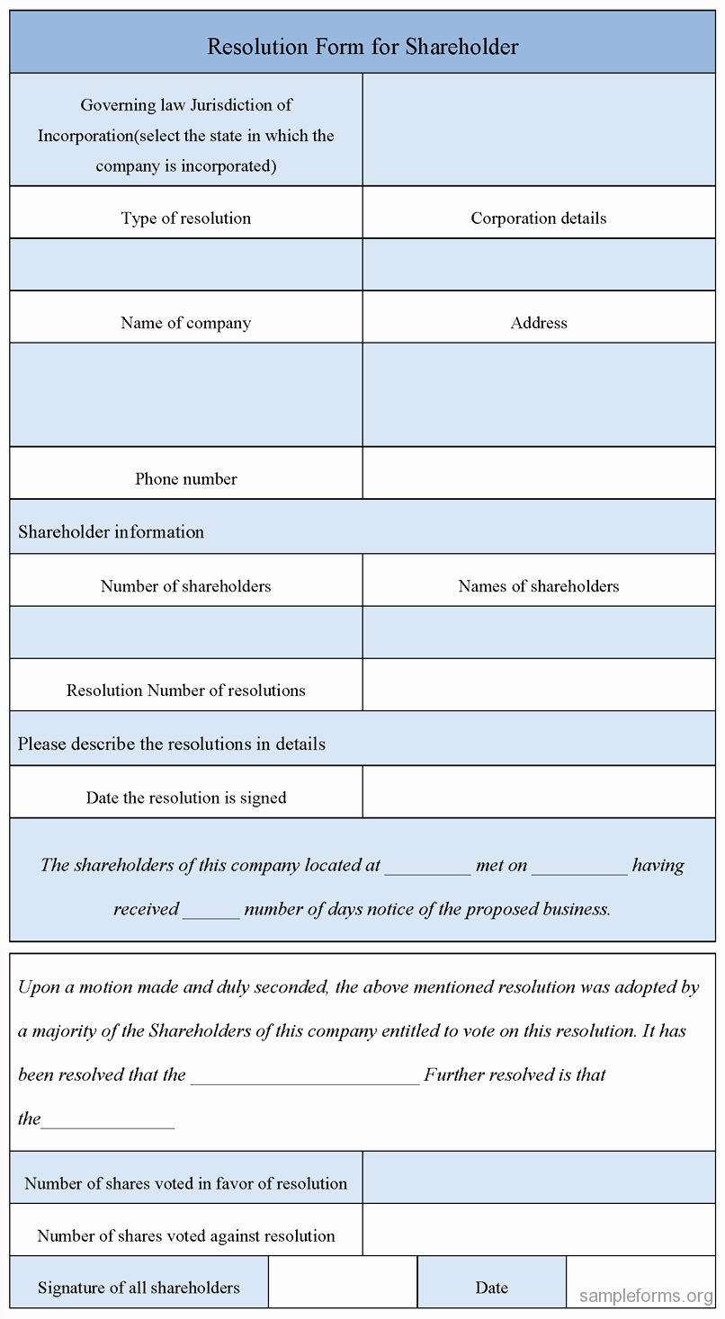 Blank Resolution form for Holder Sample forms