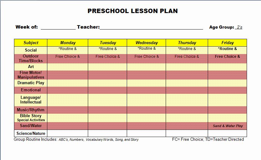 Blank Sample Lesson Plans