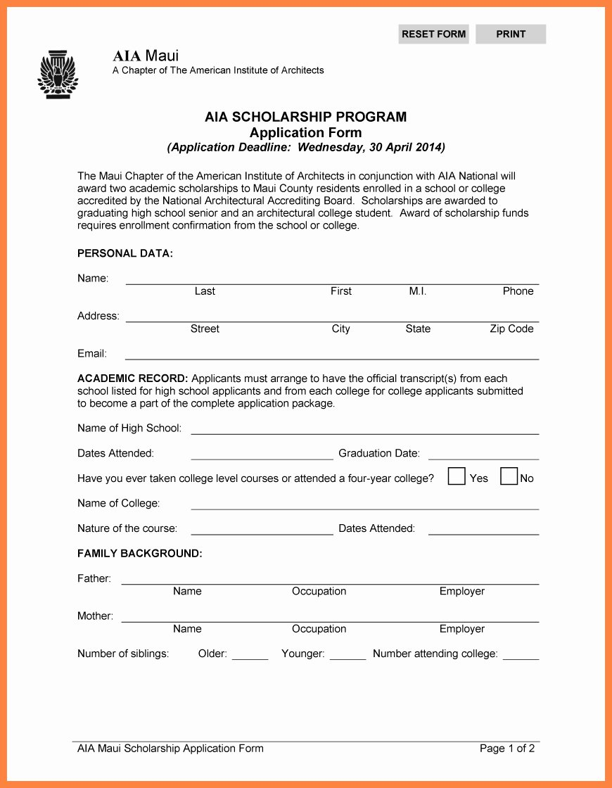 Blank Scholarship Application Template form Besttemplates