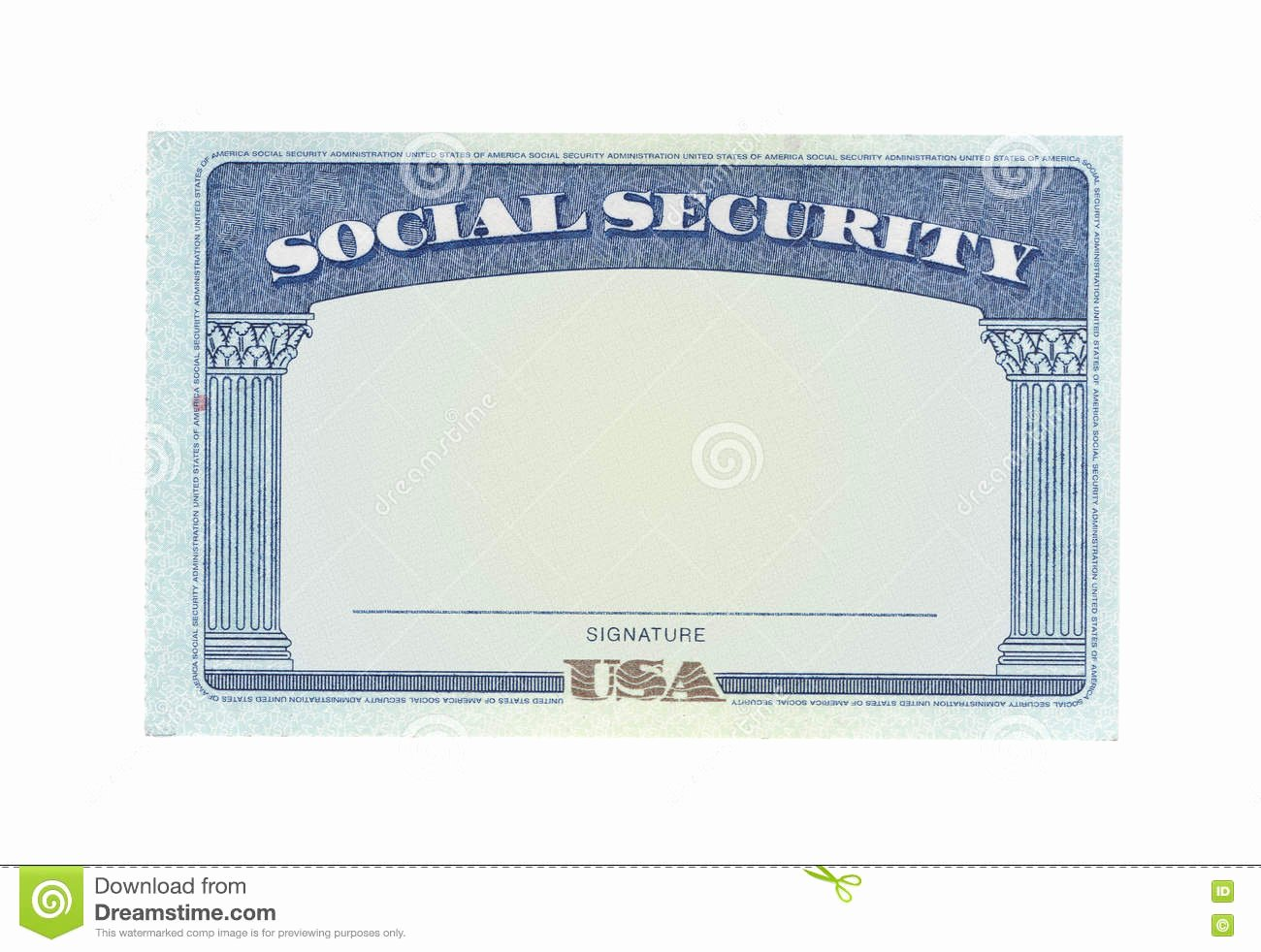 Blank social Security Card Stock Photo Image Of Money