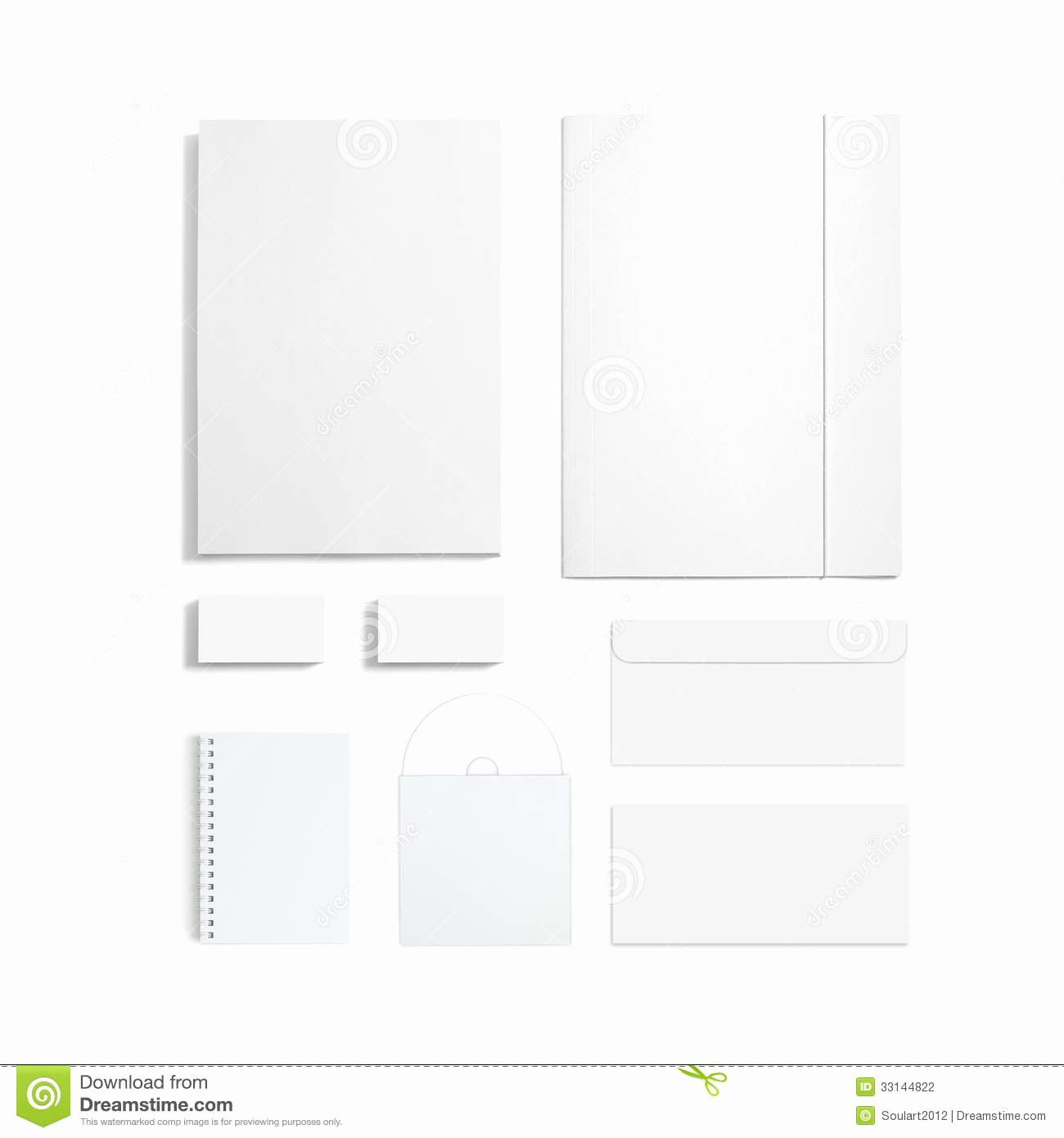 Blank Stationery Set isolated White Stock Graphy