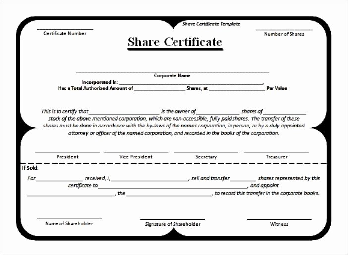 Blank Stock Certificate Template Install