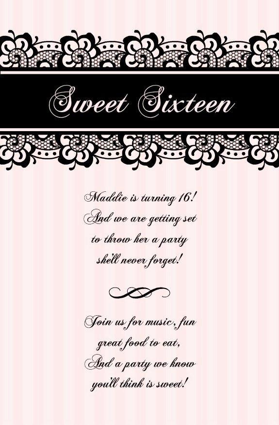 blank sweet 16 invitation templates 755