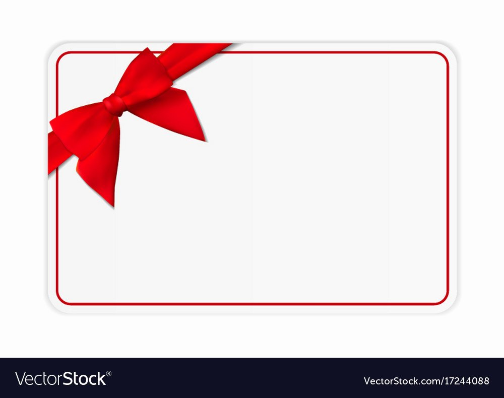 Blank T Card Template with Bow and Ribbon Vector Image