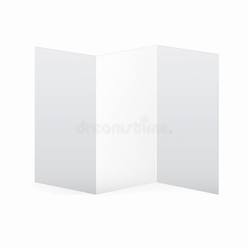 Blank Vector White Tri Fold Brochure Template Stock