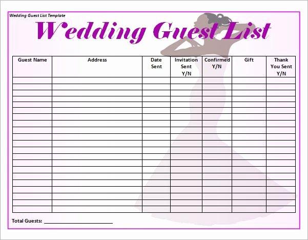 Blank Wedding Guest List Template Word