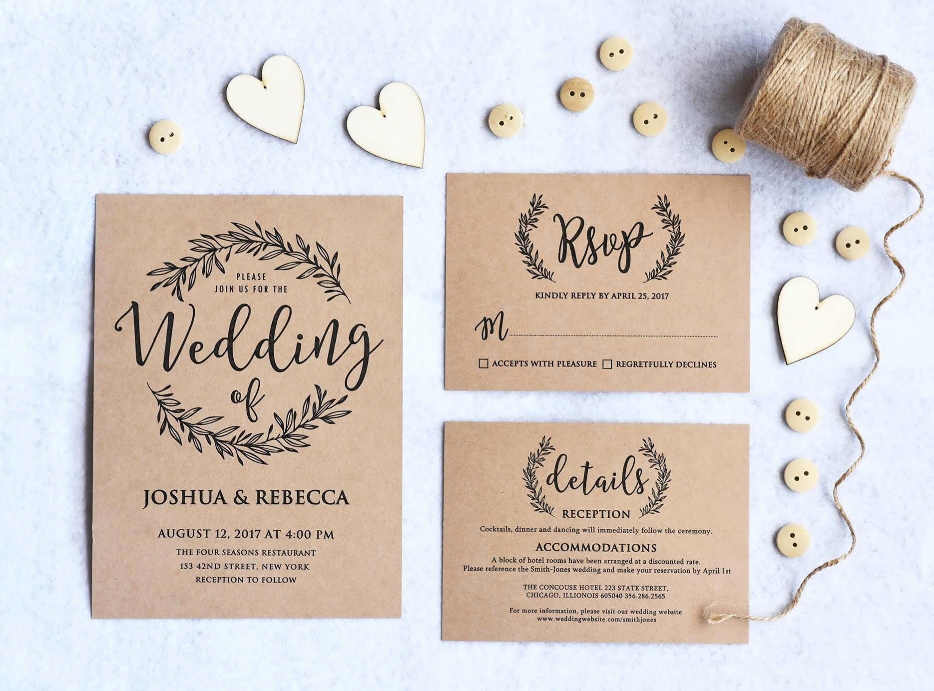 Blank Wedding Invitations Unique Wedding Invitation Rustic