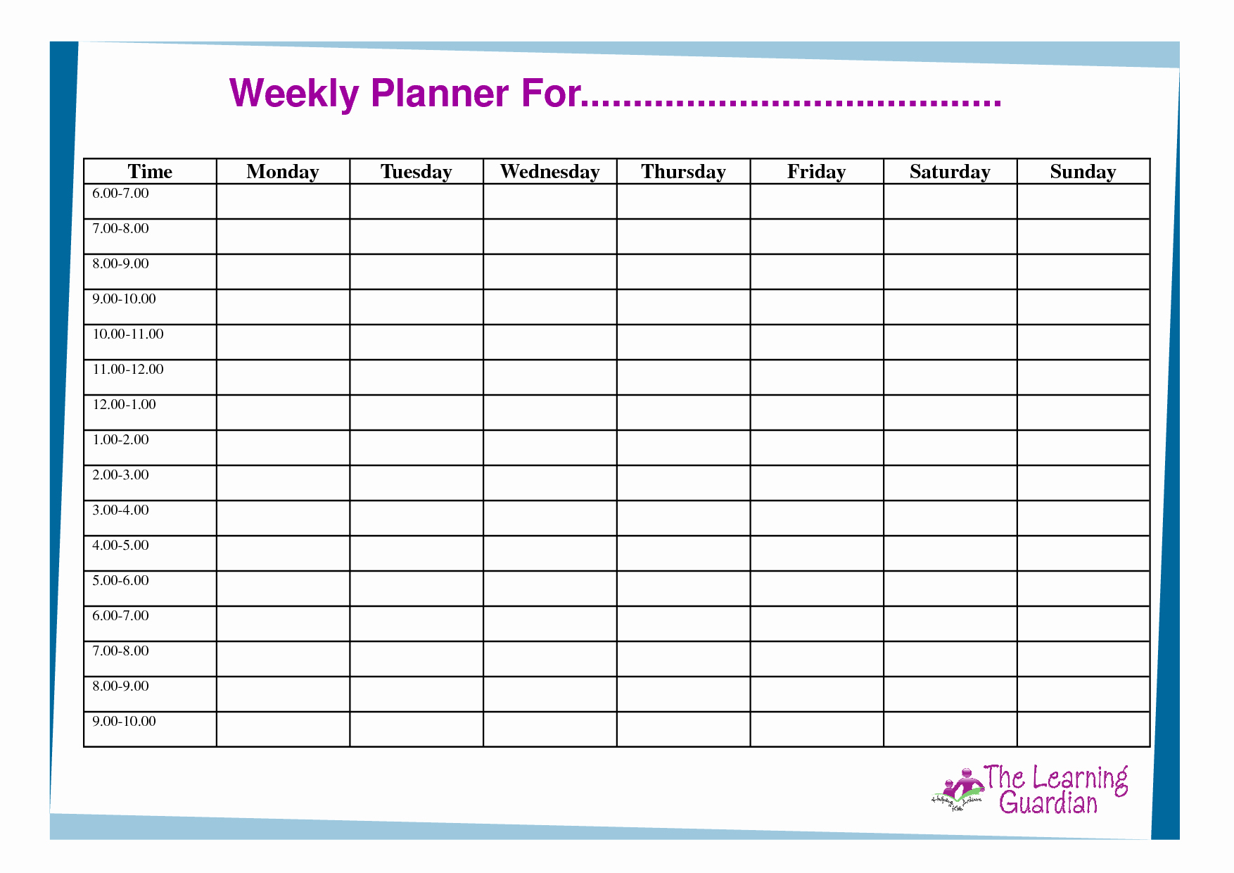 Blank Weekly Calendars with Appointment Times Printable