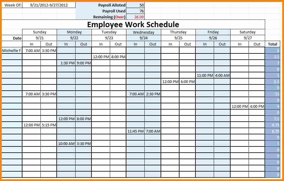 Blank Weekly Employee Schedule Template to Pin On