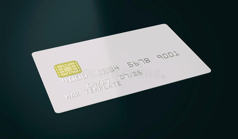 Blank White Credit Card Template Black Background 3d