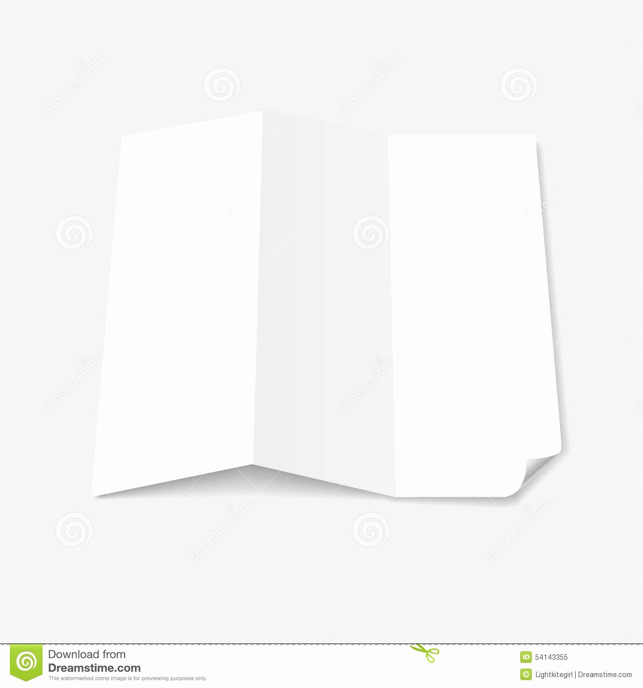 Blank White Tri Fold Brochure Template with Page Stock