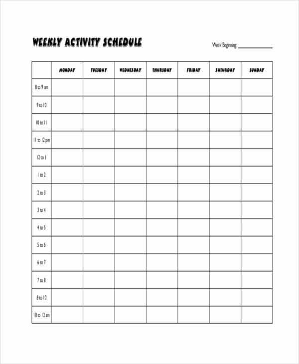Blank Workout Schedule Templates 7 Free Word Pdf