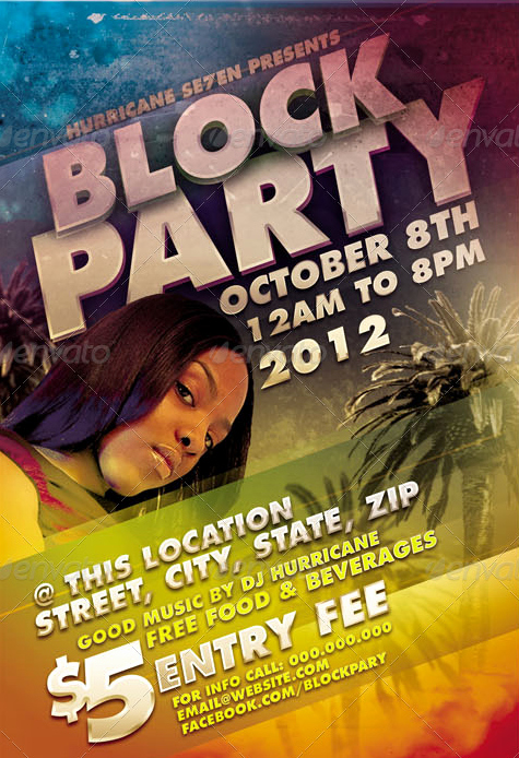 Block Party and Spring Break Flyer Template Pack Party