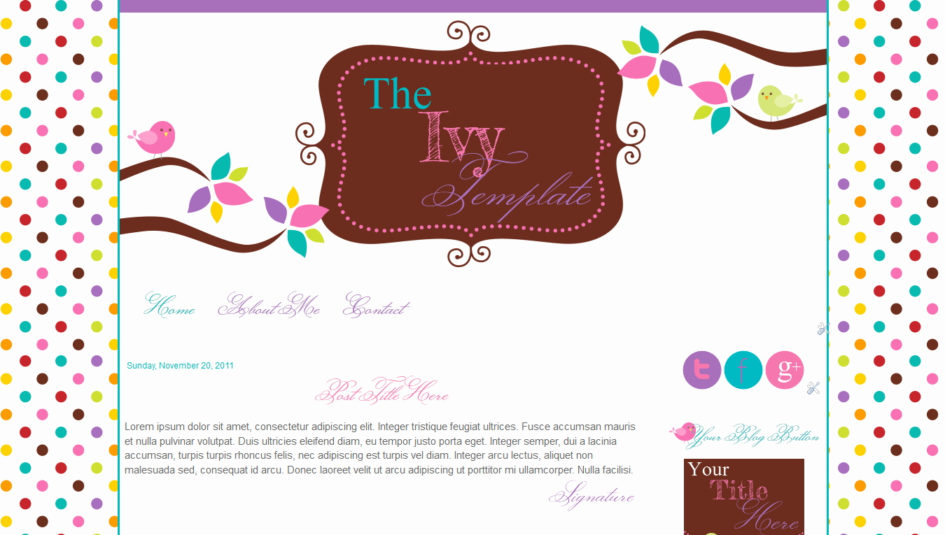 Blog Templates for Teachers Birds Pink Cute Ivy
