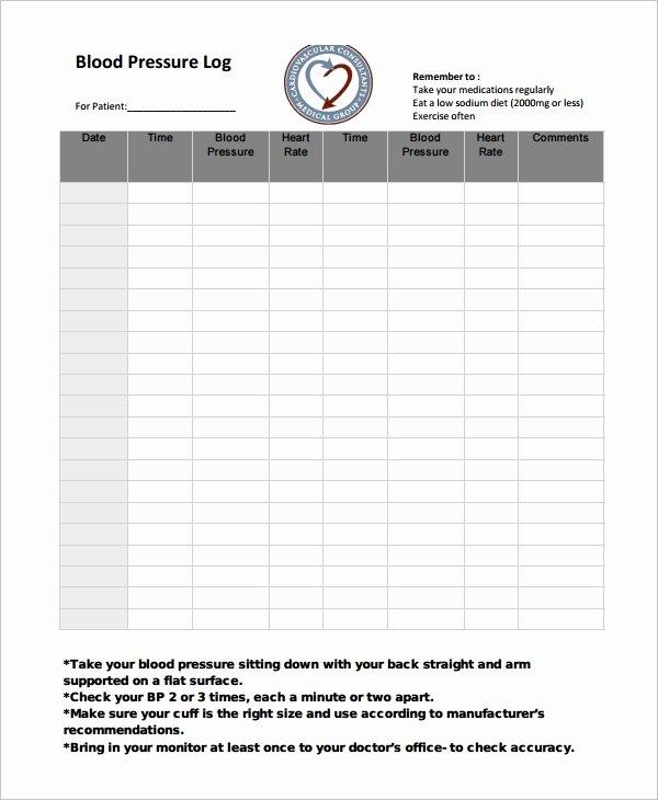 Blood Pressure Log Template – 10 Free Word Excel Pdf