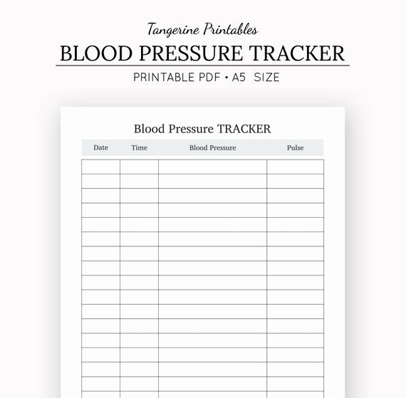 Blood Pressure Tracker Health Journal A5 Insert A5