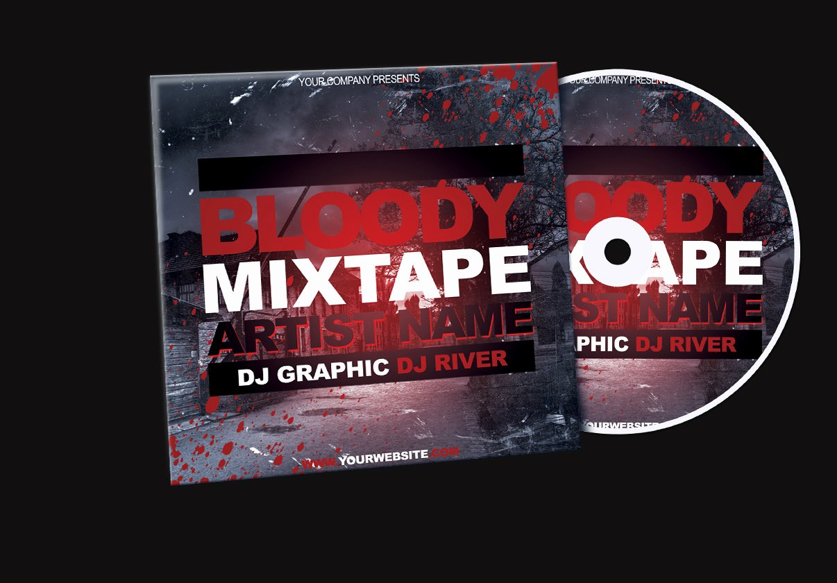 Bloody Mixtape Cd Cover Free Psd Template by Klarensm On