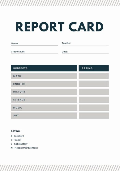 Blue and Gray Lines Homeschool Report Card Templates by