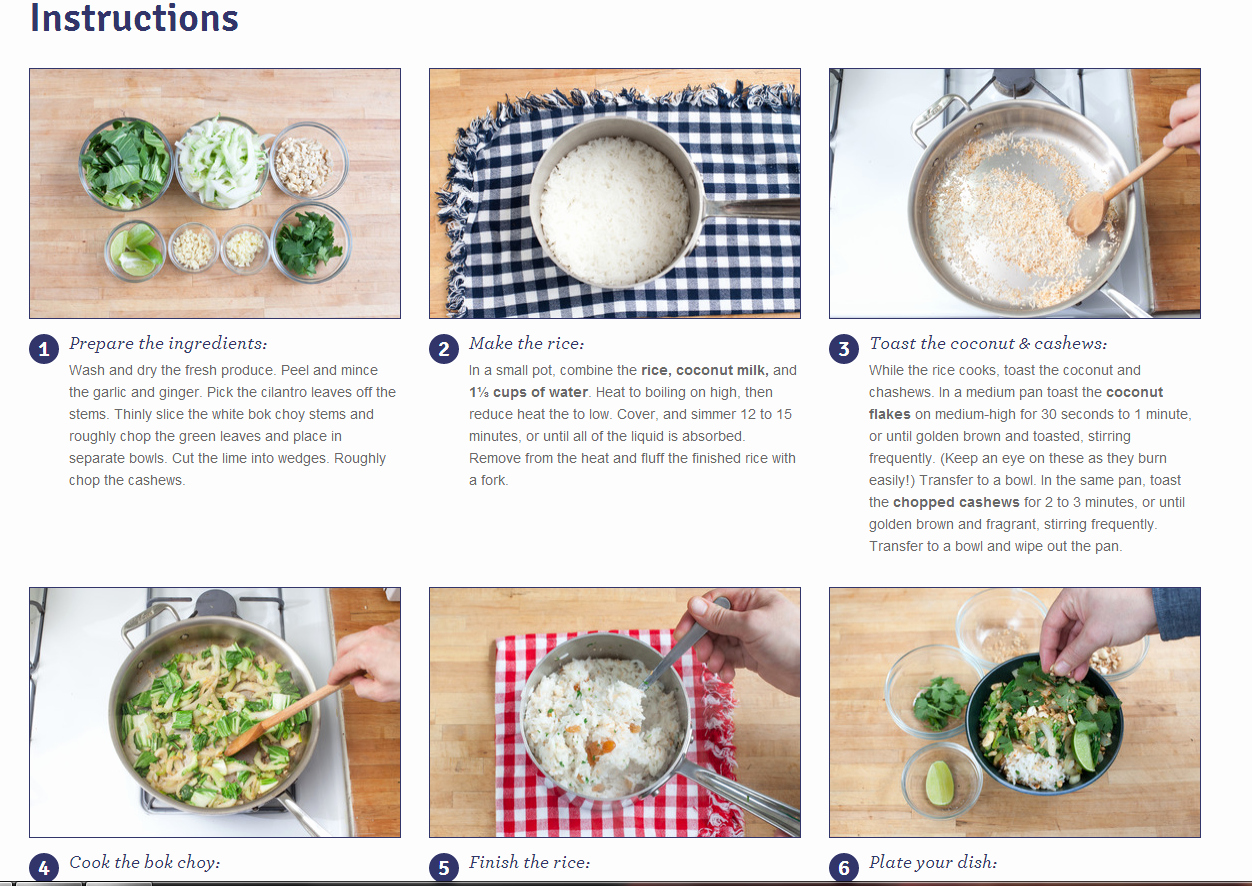 Blue Apron Step by Step Instructions Template to Go