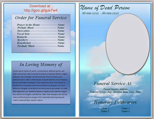 Blue Cloud Funeral Program Template In Microsoft Word 2007