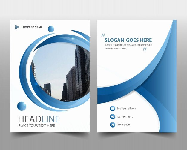 Blue Round Modern Annual Report Template Vector