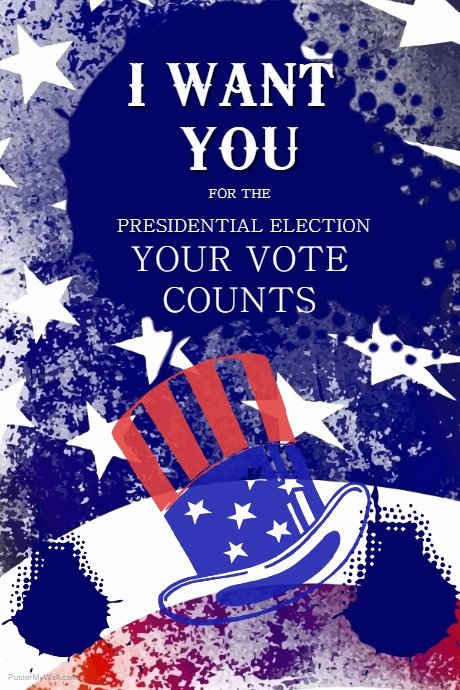 Blue Uncle Sam Election Poster Template