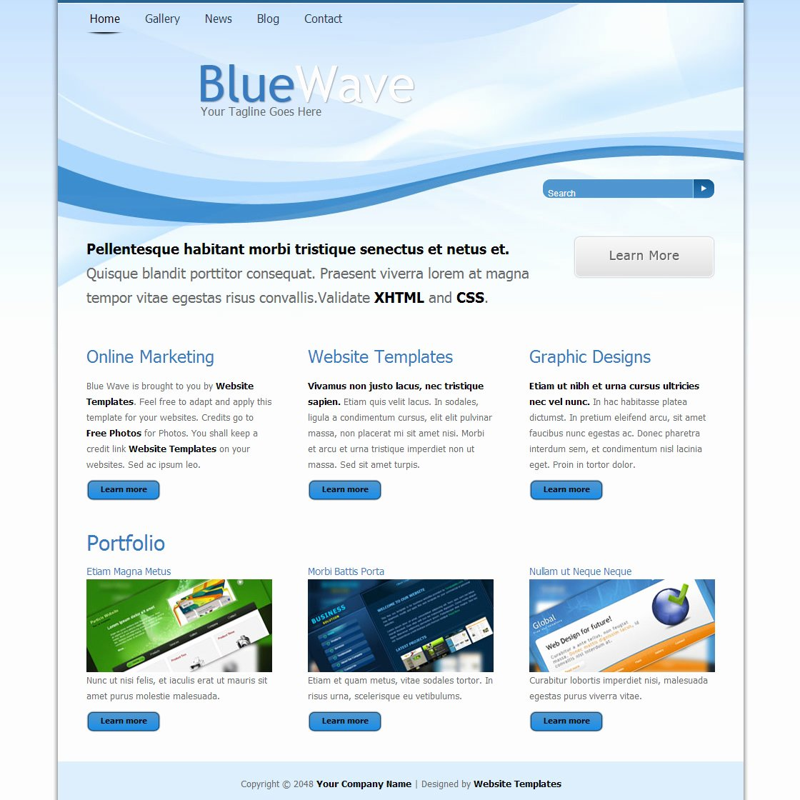 Blue Wave Free HTML Css Templates